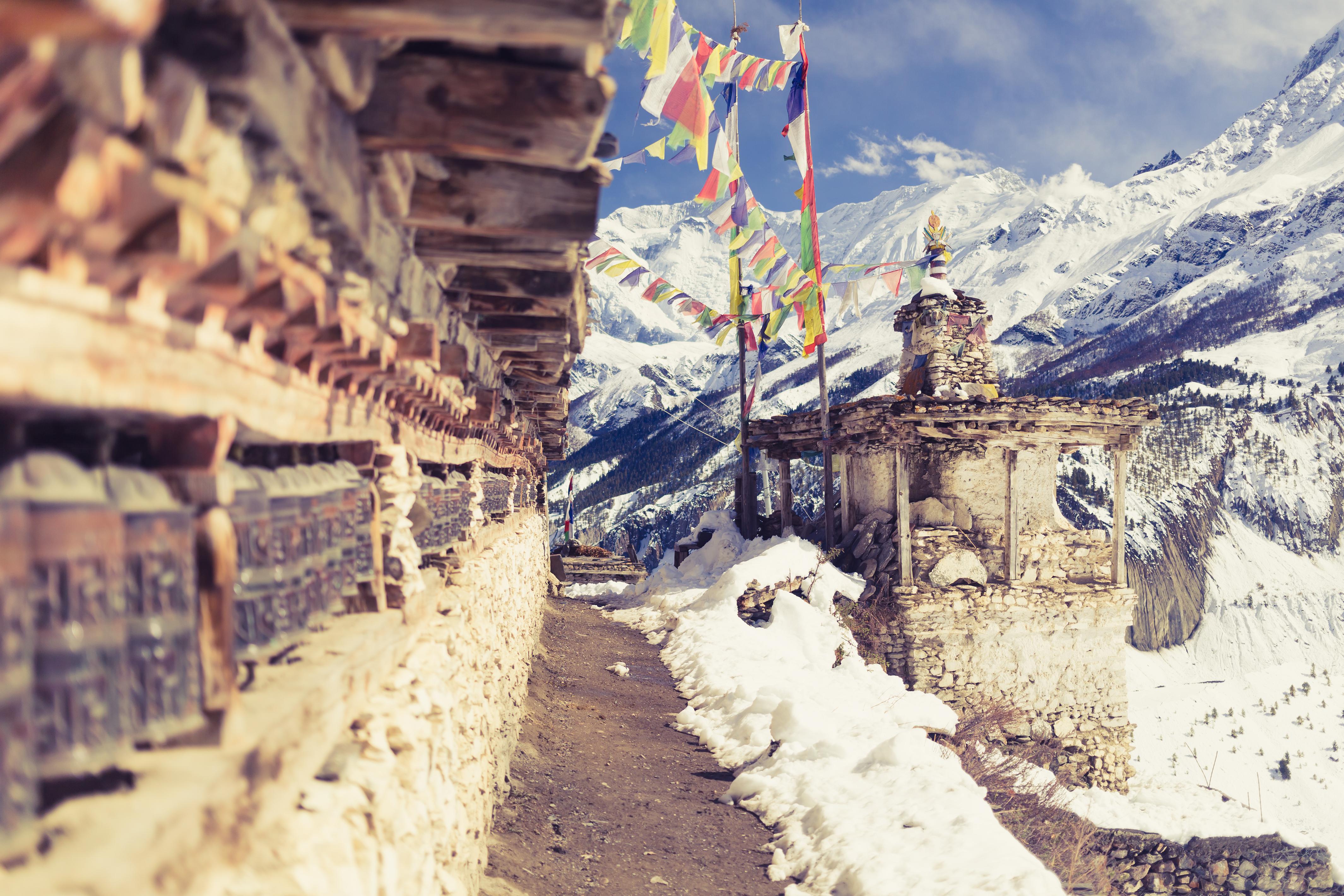 Treating Depression - Prayer Wheels In High Himalaya Mountains, Nepal Village